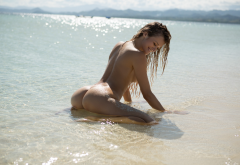 olivia preston, playboy, wet, sea, beach, ocean, smiling, naked, tanned, ass wallpaper