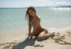 olivia preston, playboy, wet, sea, beach, ocean, naked, tanned, tits, hips, legs wallpaper