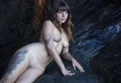 tattoo, naked, shaved pussy, pussy, brunette, tits, nipples wallpaper
