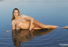 tiffany von roest, playboy, wet, boobs, tits, legs, lake wallpaper