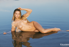 tiffany von roest, playboy, wet, boobs, tits, legs, lake, shaved, nipples wallpaper