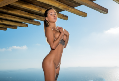 liya silver, sea, naked, tanned, boobs, big tits, tattoo, brunette, hot wallpaper