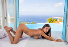 liya silver, sea, pool, naked, tanned, boobs, big tits, tattoo, brunette, hot, ass, doggy wallpaper