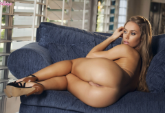 ass, pussy, labia, tanned, naked, high heels wallpaper