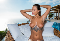 liya silver, tattoo, naked, tanned, boobs, big tits, nipples, brunette, sea wallpaper