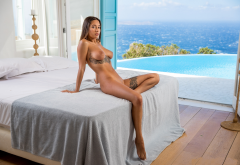 liya silver, pornstar, tattoo, naked, tanned, boobs, big tits, nipples, brunette, sea, pool, hotel room wallpaper