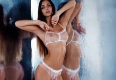 white lingerie, sexy, hot, tanned, see-through, tits, boobs, nipples, reflection, brunette wallpaper