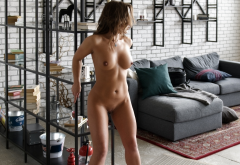 tanned, naked, boobs, tits, nipples, dark nipples, shaved pussy, pussy wallpaper