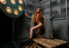 alina maier, shoes, naked, closed eyes, long hair, strategic covering, redhead wallpaper