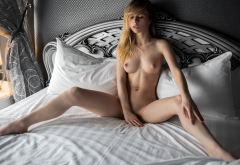 alexandra smelova, naked, in bed, blonde, spread legs, boobs, tits, puffy nipples wallpaper
