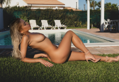 margot, naked, pool, tanned, blonde, boobs, tits, legs, high heels wallpaper