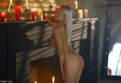 nude, boobs, ass, closed eyes, blonde, hot, fireplace, candles, naked wallpaper