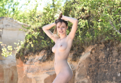 maxa, tits, boobs, nipples, naked, hips, smiling, brunette wallpaper