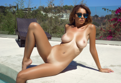 ali rose, playboy, pool, tan lines, boobs, big tits, nipples, shaved pussy, brunette, sunglasses, sexy wallpaper