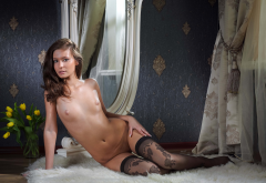 irina j, stockings, black stockings, brunette, tanned, tits, nipples, mirror, sexy, model, flowers, tulips wallpaper
