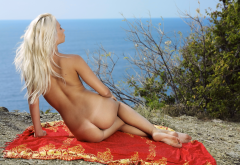 ass, tanned, back, blonde, sea, tan lines, beach wallpaper