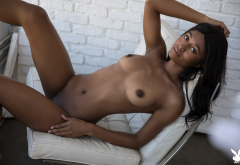 Jahla, naked, ebony, brunette, playboy, shaved pussy, boobs, tits, dark nipples, brunette wallpaper