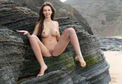 beach, naked, sea, boobs, big tits, nipples, shaved pussy, labia, pussy, brunette wallpaper
