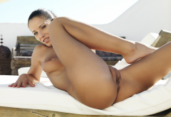 angel dark, naked, ass, anus, labia, pussy, boobs, tits, brunette, tanned wallpaper