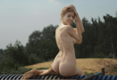 naked, ass, smiling, boobs, tits, outdoor wallpaper