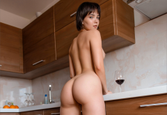 ass, big ass, sexy, hot, naked, kitchen, short hair wallpaper