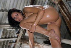 oiled, ass, naked, legs, feet, brunette, wet hair, pussy, labia, shaved pussy wallpaper