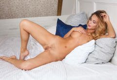 cara mell, tanned, naked, labia, meat curtains, pussy, trimmed pussy, spread legs, boobs, big tits, nipples, in bed wallpaper