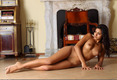 nasrin, exotic, naked, tits, nipples, tanned, legs, landing strip wallpaper