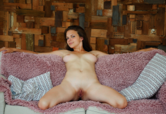 ella green, naked, shaved pussy, labia, pussy, boobs, big tits, brunette wallpaper
