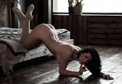 ass, naked, doggy, brunette, stockings, in bed wallpaper