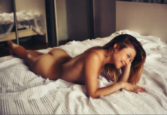 ass, tanned, naked, in bed, smiling wallpaper