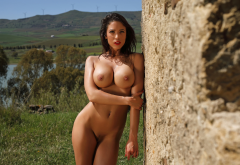 savannah, naked, boobs, big tits, nipples, tanned, shaved pussy, pussy, red lips, brunette, wet hair wallpaper