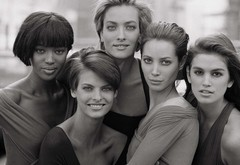models, black and white, naomi campbell, cindy crawford, christy turlington, linda evangelista wallpaper